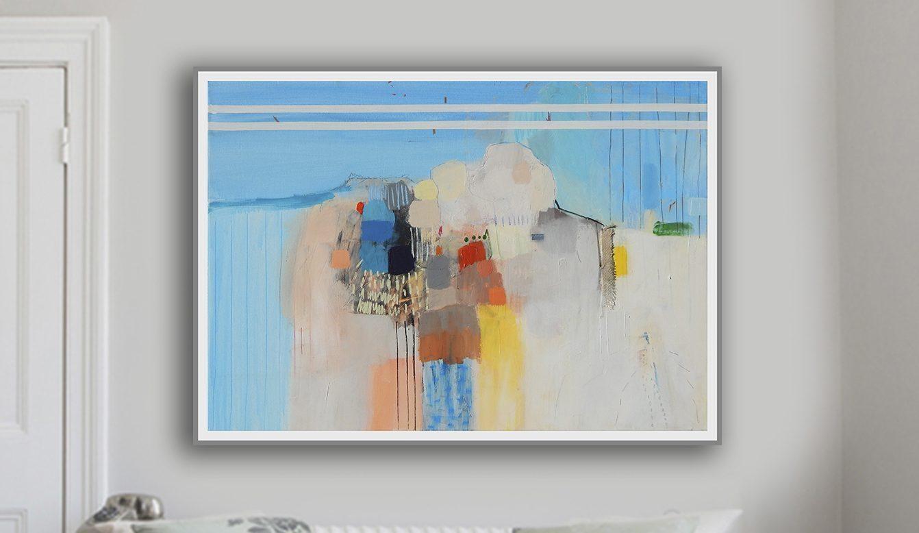 Apstraktna slika na platnu prodaja_morski pejsaž_veliki format_100 x 70 cm