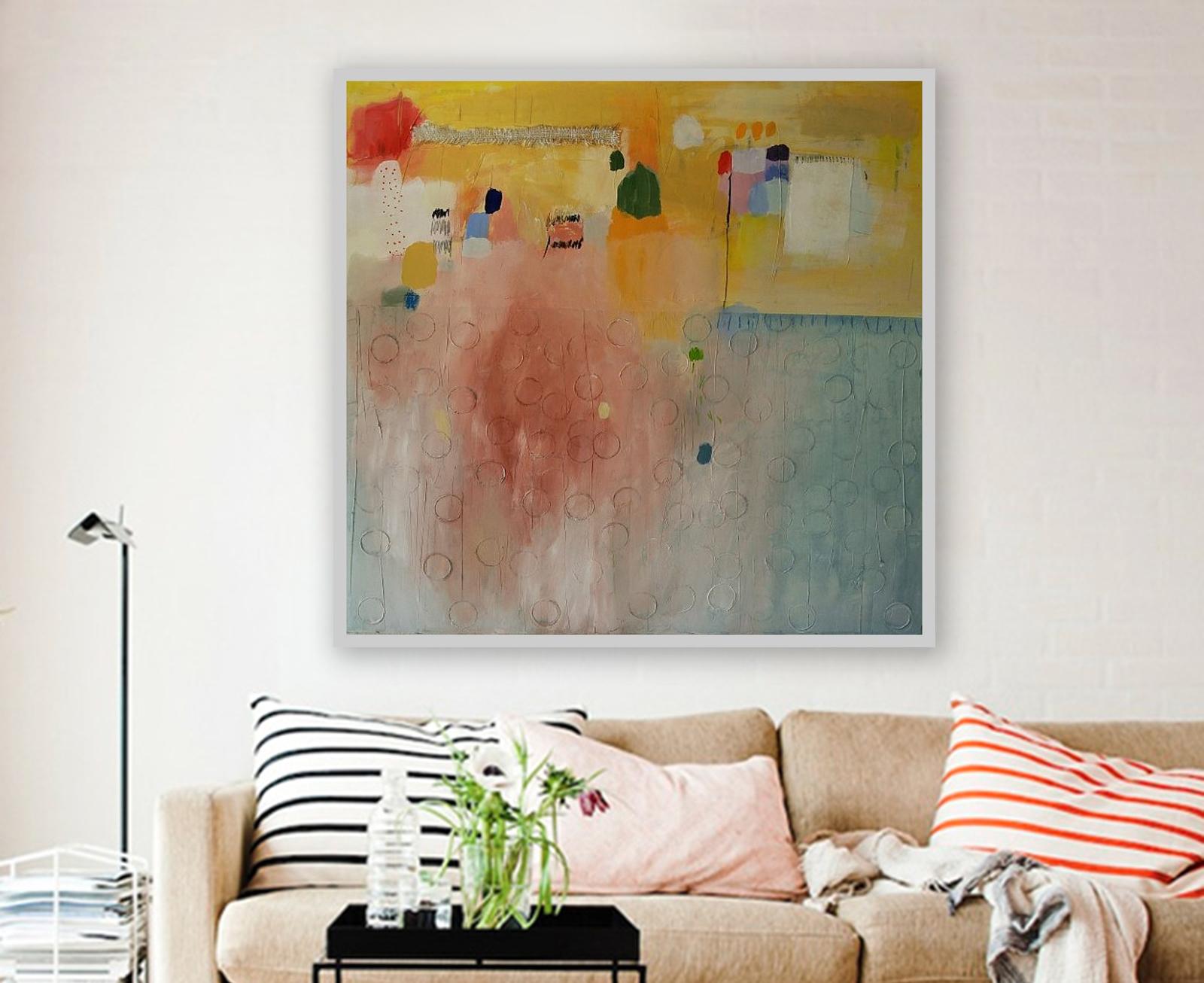 Moderna apstraktna slika velikog formata na platnu_ranko ajdinović_zidno slikarstvo_akril 100 x 100 cm (1)