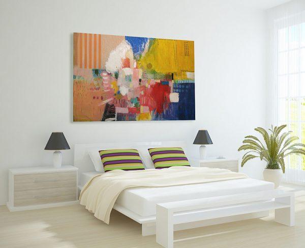 Apstraktna slika za moderni stan, veliki format na platnu, ranko ajdinović,kompozicija w1