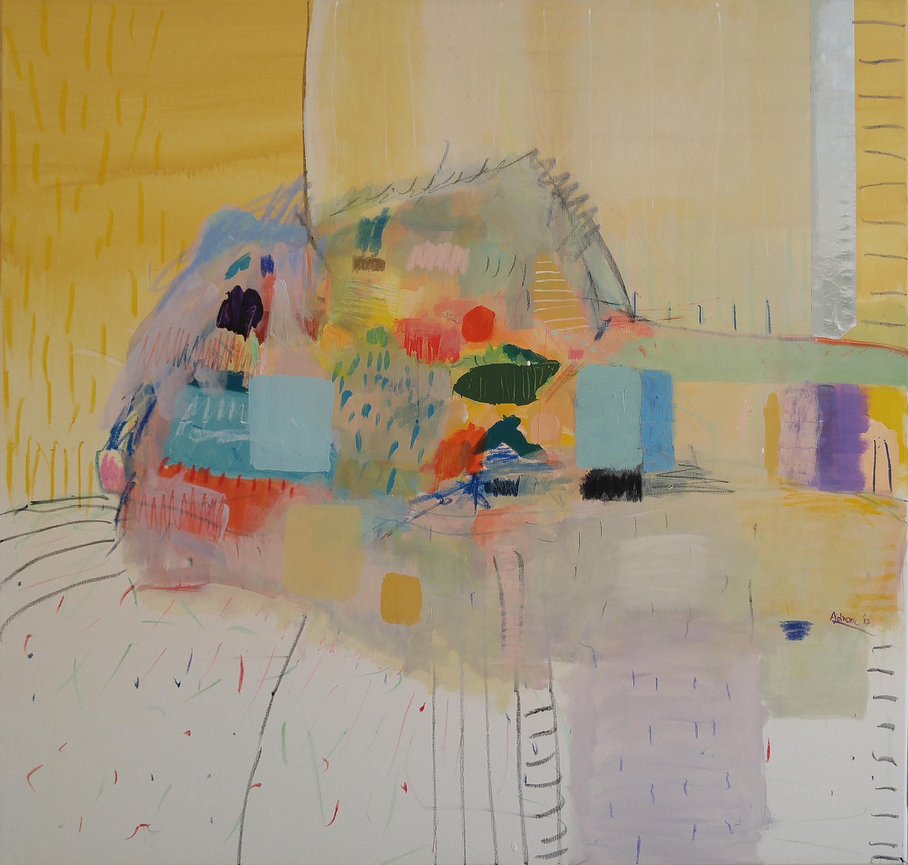 moderna slika za stan na platnu_apstraktna umjetnost veliki format 100 x 100 cm_ranko ajdinovic