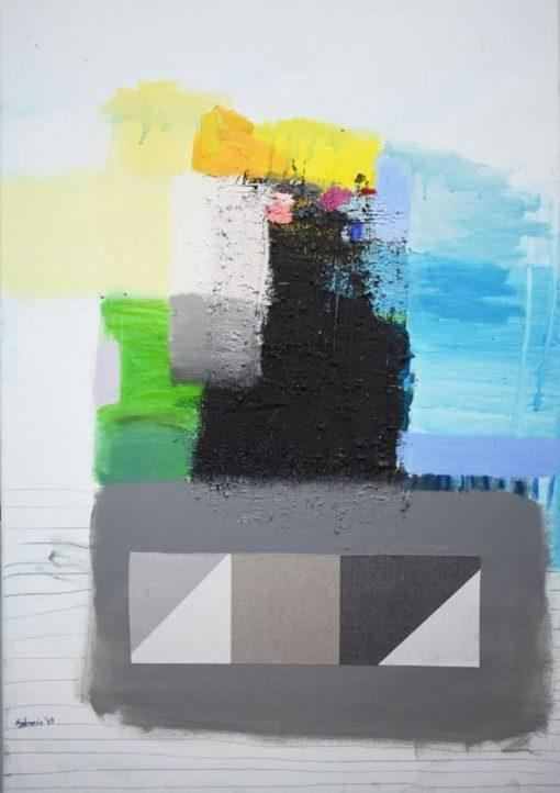 Ranko Ajdinović moderna slika na platnu,uspravna umjetnička slika, pejzaž