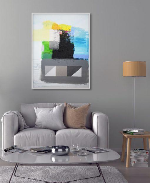 anko Ajdinović moderna slika na platnu,uspravna umjetnička slika, pejzaž_Unutarni pejzaž O (8)