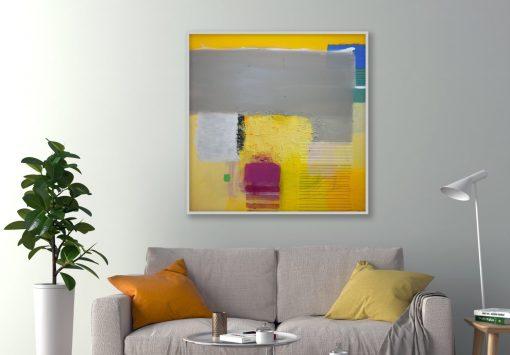 Velika slika na platnu žuto plava za moderni apartman, stan ili ured