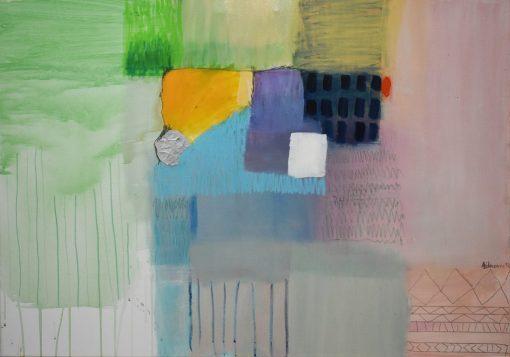 Apstraktna slika Ranka Ajdinovića akademskog slikara za moderni stan. Veliki format na platnu u modernom interijeru