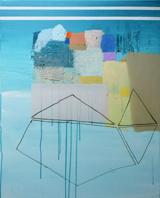 Morski pejzaž na platnu moderna apstraktna slika okomit format Ajdinović Ranko