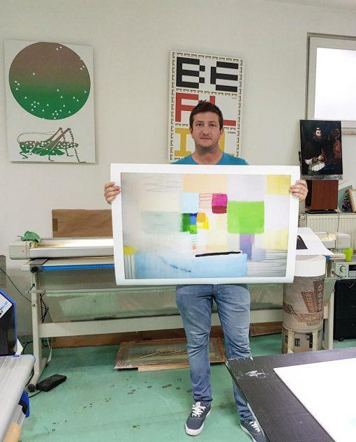 Geometrijska apstrakcija grafika giclee print slikara Ajdinović Ranka