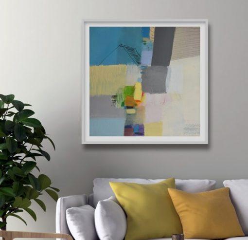 Plavo žuta umjetnička slika apstrakcija iznad kreveta u interijereu