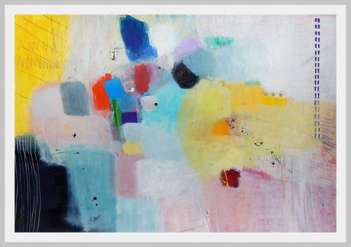 Print apstrakcija sa bijelim okvirom za moderan stan