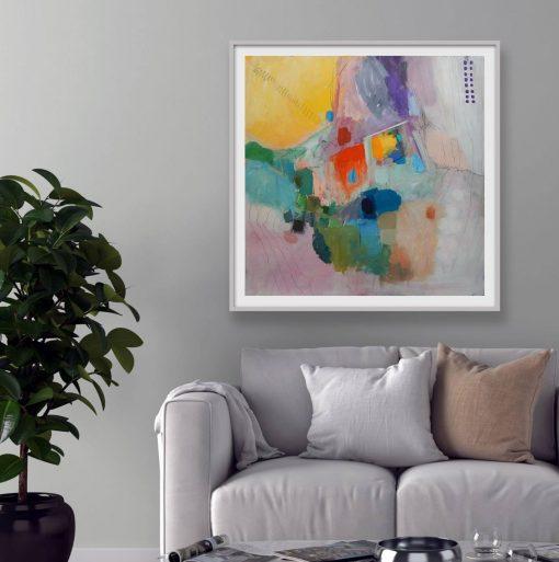 moderna umjetnička slika Ajdinovića u dnevnom boravku iznad sofe