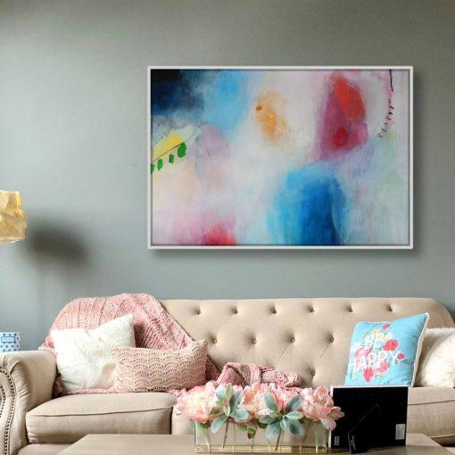 Velika moderna umjetnička crveno plava apstrakcija iznad kauča