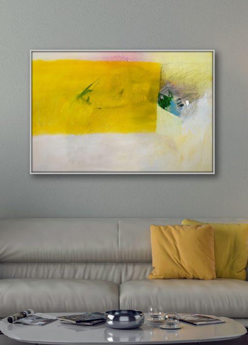 Žuta slika apstrakcija na platnu horizontalnog formata Ajdinović Ranko