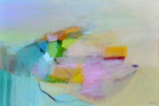 Žuto tirkizna slika Ajdinović Ranka umjetnička apstrakcija na platnu
